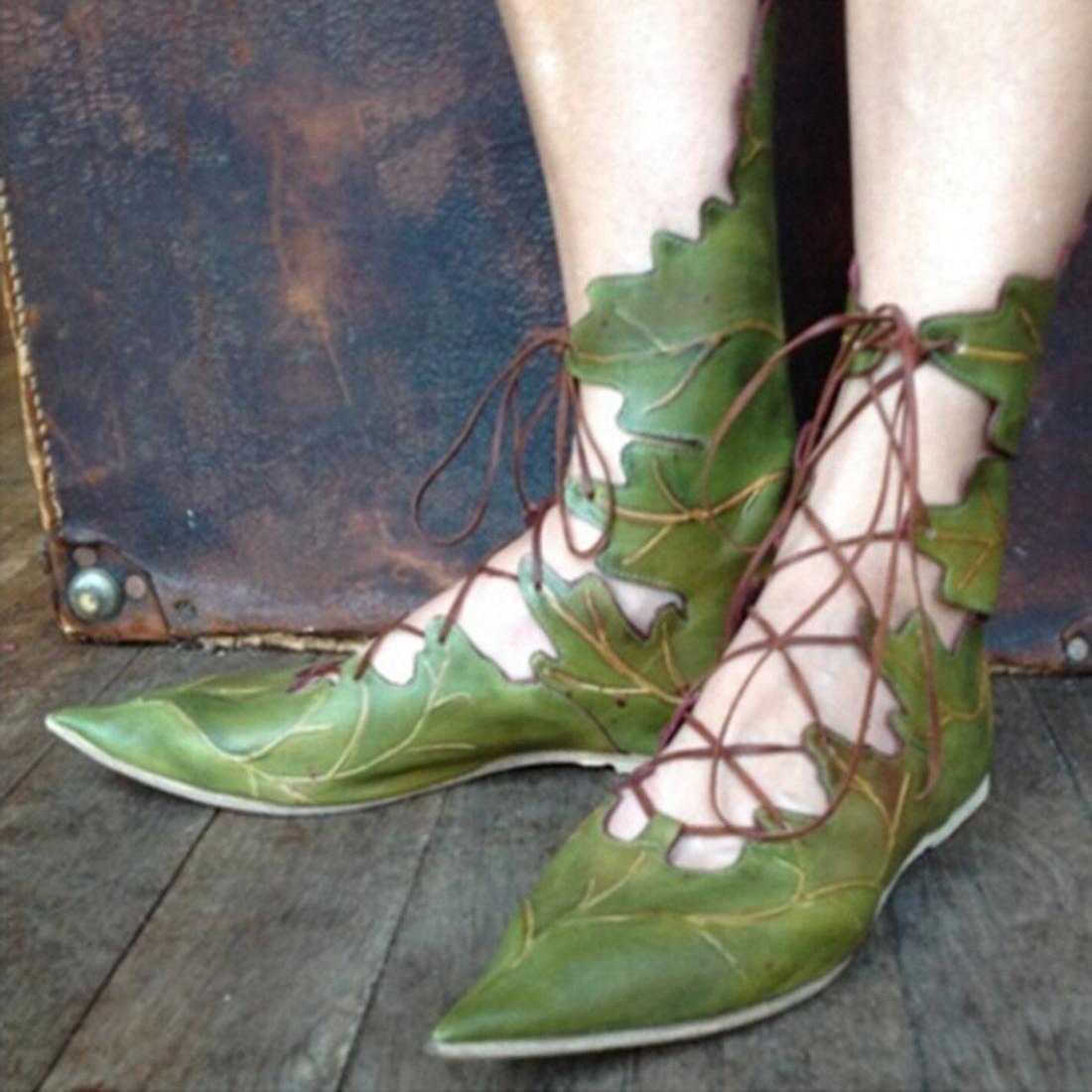 2018 otoño mujeres damas gladiador cordones zapatos planos casuales hoja estilo diseño puntiagudo dedo del pie verde rojo tobillo Strappy Zapatos de vestir
