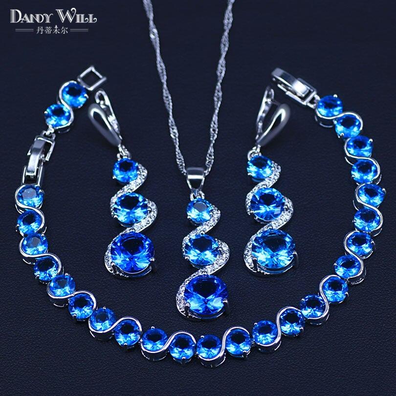 Cor de prata céu azul zircônia cúbica conjuntos de jóias de casamento pulseira brincos colar conjunto para a moda feminina jóias
