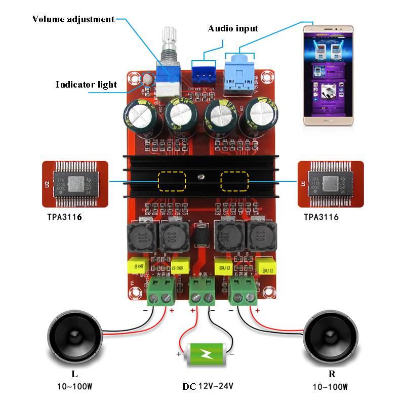 TDA3116D2 цифровой аудио усилитель мощности 100 Вт x2 2,0 стерео класса D HIFI усилитель DC 12 В 24 В XH-M190 D3-007