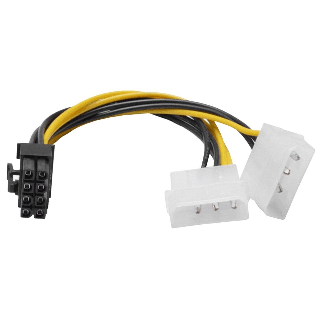 Новый Хит 6 дюймов 2 x Molex 4 pin к 8-контактный PCI Express Видеокарта Pci-e ATX PSU кабель преобразователя питания-Molex к Pcie 8-контактный адаптер