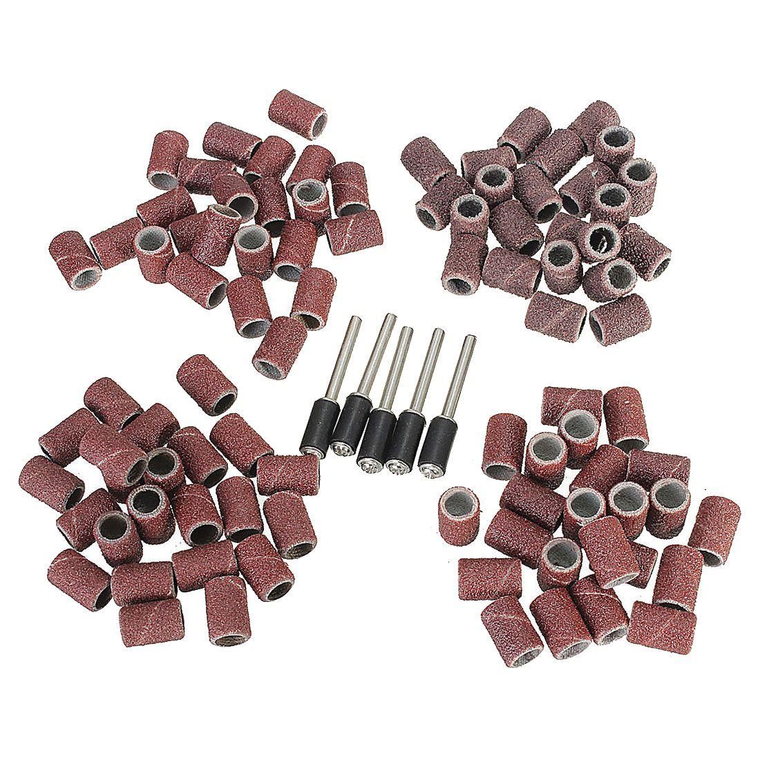 HLZS-92Pcs bandas de lijado de 1/4 pulgadas, manguitos de tambor 60 120 240 320, lijas + juego de 5 mandril