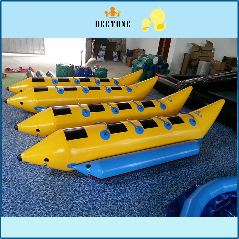 Double row 8 person seat PVC inflatable banana boat water drag game free distribution inflatable pump