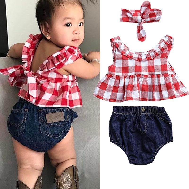 Pudcoco Girl Set 0-3Y USA Summer Baby Girl Clothes 3Pcs Outfits Set Dress Tops+Denim Pants+Headband