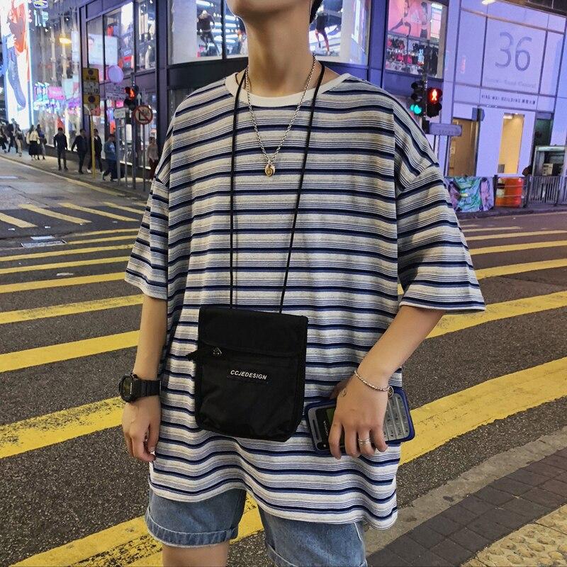 Ropa de algodón de cuello redondo para hombre de estilo coreano de verano 2019 camisetas masculinas de manga corta con estampado de rayas de color talla grande S-3XL