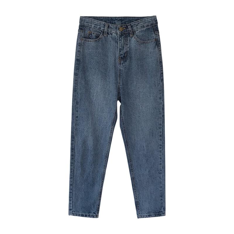 Plus Size Women High Waist Boyfriend Jeans For Mom 2019 New Spring Summer Blue Washed Harem Pants