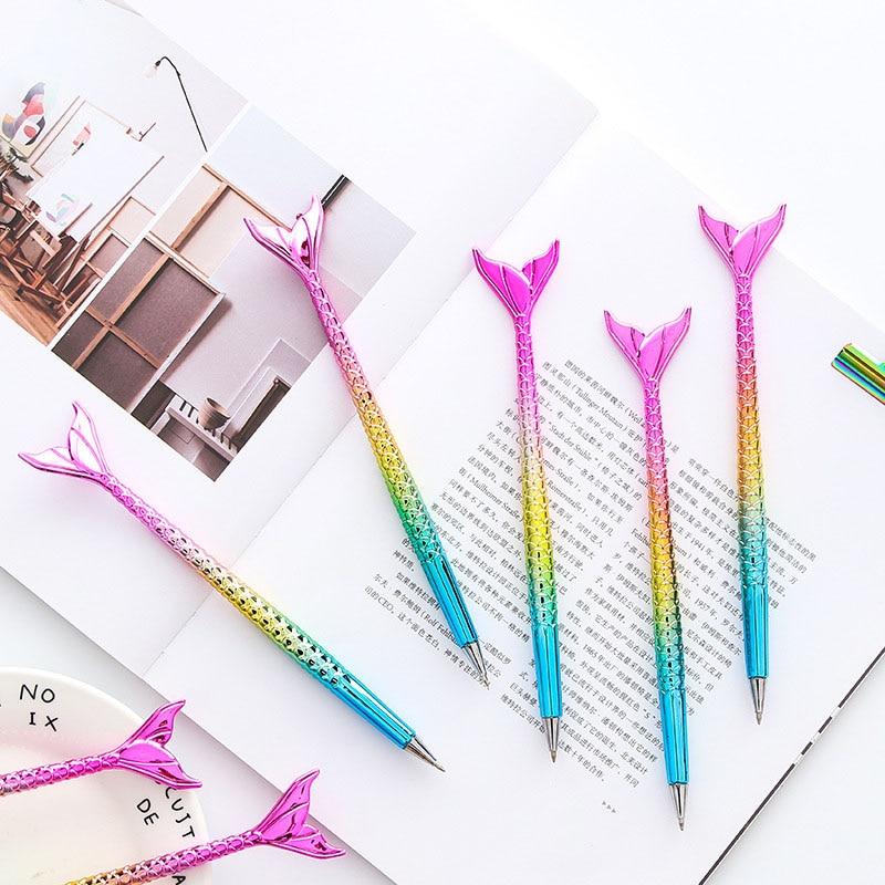 Novedoso bolígrafo de sirena, bolígrafos creativos de colores del arco iris para escribiendo chicas, regalo, suministros escolares, papelería bonita