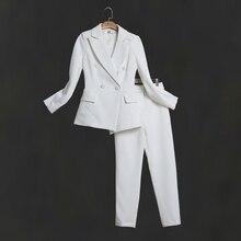 Women white Slim Pant Suits Female suit dress Notch Lapel Women's Business Office Tuxedos Jacket+Pants Ladies Suit