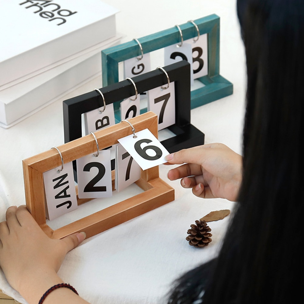 Oficina de madera Vintage hogar calendario café escritorio decorativo rústico adornos DIY Flip