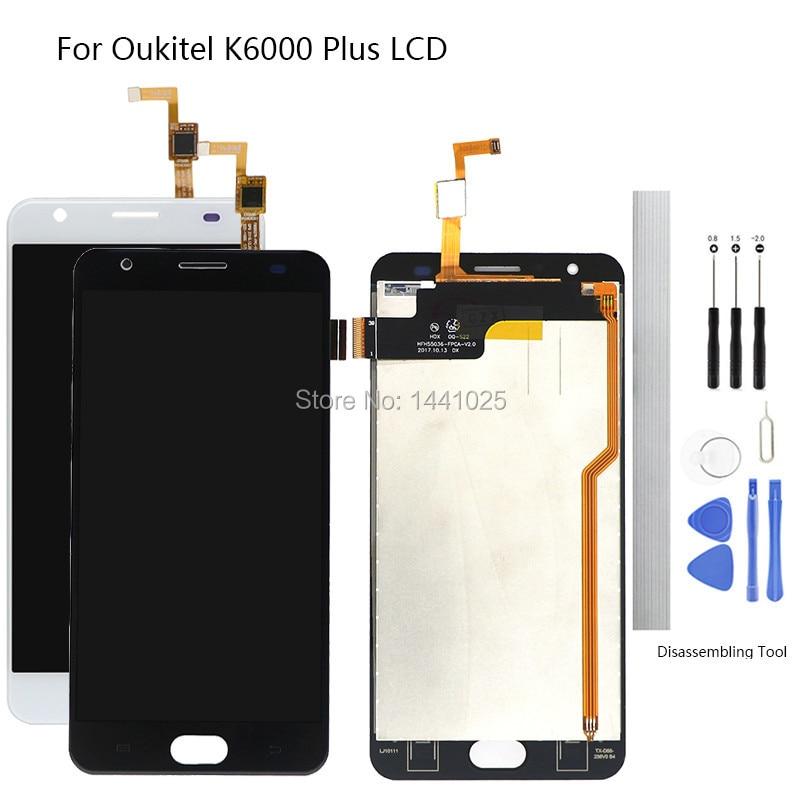 Reemplazo de pantalla para pantalla táctil LCD Oukitel K6000 Plus de 5,5 pulgadas en blanco y negro para pantalla táctil Oukitel K6000 Plus