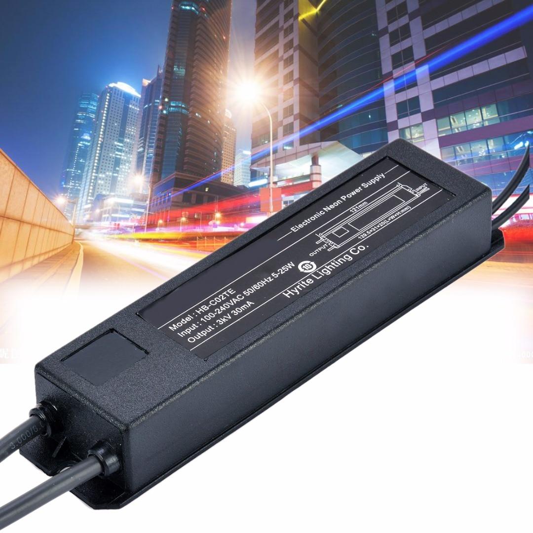 Transformador electrónico de neón señal de luz de neón Transformador electrónico fuente de alimentación HB-C02TE 3KV 30mA 5-25W con Cable