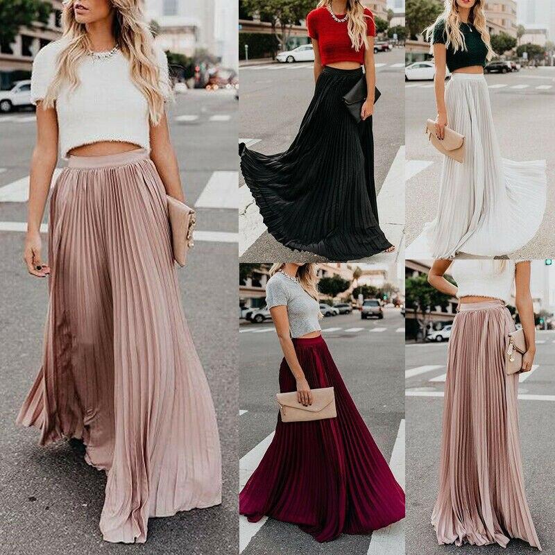 Nuevo 2019 mujeres Boho gasa largo Maxi falda dama playa cintura alta Falda plisada Causal vestido Mulheres Do Partido Boho Praia