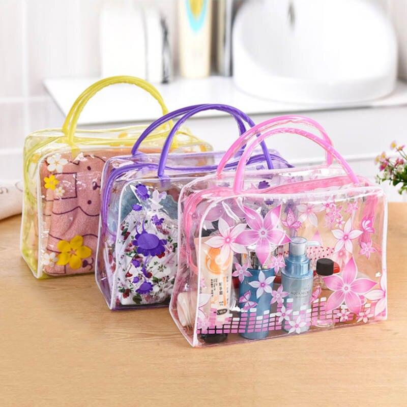 Impermeable de alta capacidad de PVC transparente de viaje accesorios de maquillaje organizador de aseo de baño almacenamiento cosméticos bolsa