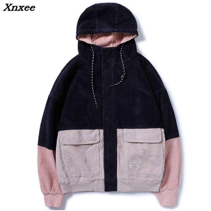 Мужские вельветовые куртки с капюшоном Xnxee, повседневные куртки в стиле хип-хоп с цветными блоками, 2018