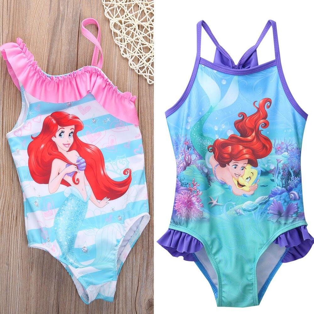 2017 2-6Y, precioso traje de baño de sirena para niñas, traje de baño de dibujos animados para niños pequeños, Bikini de una pieza, bañador con volantes, ropa de playa