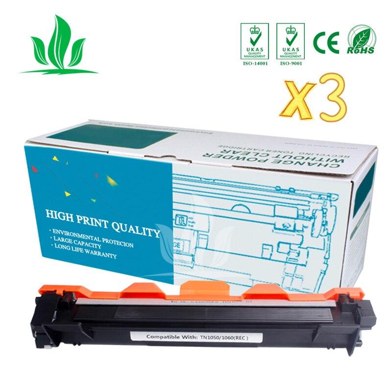 TN1050 3 piezas cartucho de toner Compatible para Hermano TN1000 TN1030 TN1050 TN1060 TN1070 TN1075 HL-1110 TN-1050