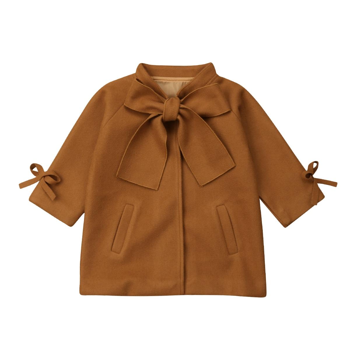 Niño bebé niña Invierno Caliente lana corbata de lazo capa manga larga abrigo chaqueta ropa