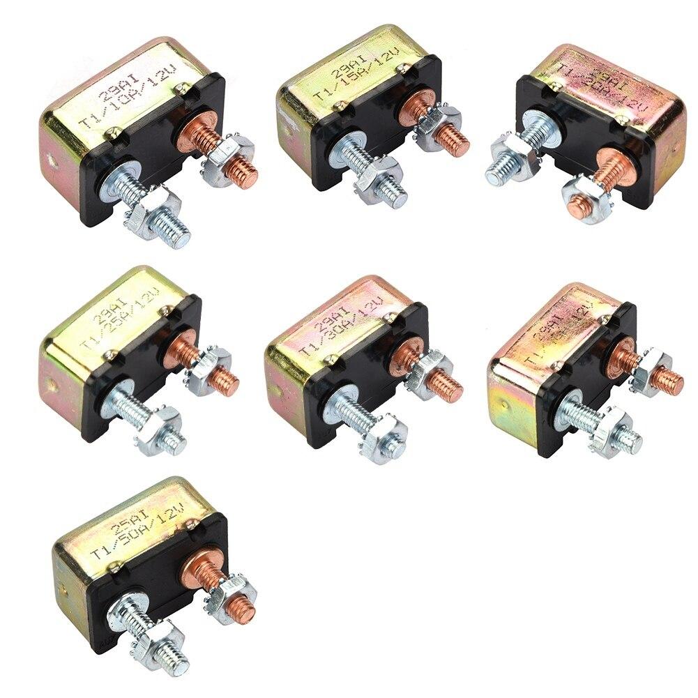 Auto Marine 12/24V 10A/15A/20A/25A/30A/40A/50A interruptor automático Universal de reinicio de fusibles con cubierta de Metal