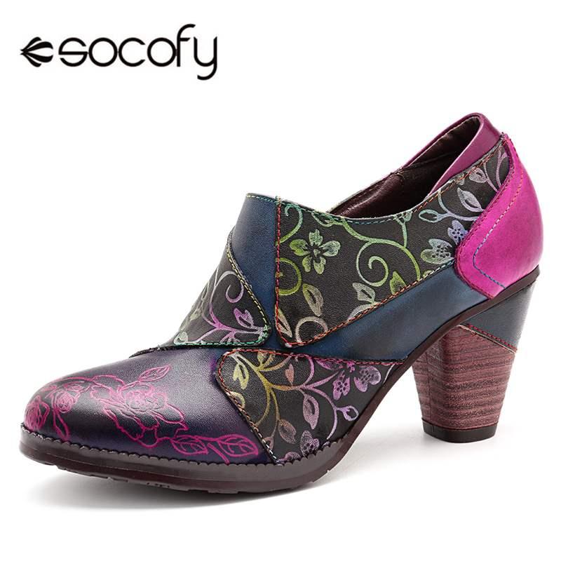 Socofy, tacones Retro bohemio, Zapatos de mujer de 7cm de tacón alto, tacones negros, Zapatos de mujer de cuero auténtico empalmados, novedad
