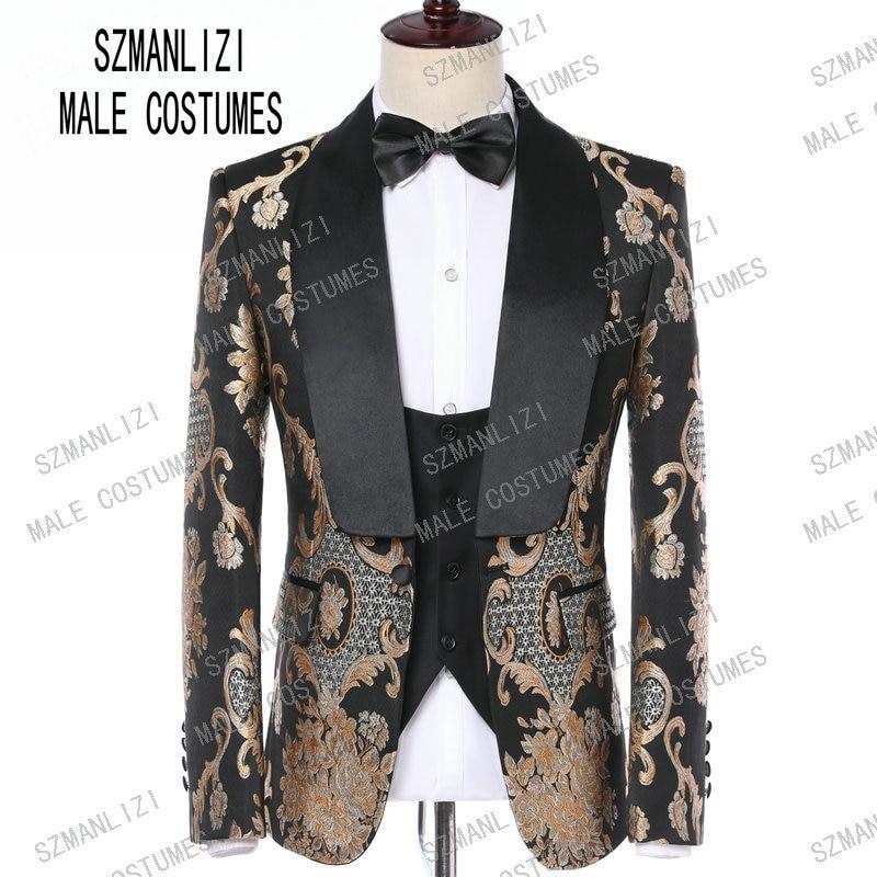 Costume Homme 2019 Elegant Formal Groom Men Dress Wedding Suits For Men Printed Floral Tuxedo Groomsmen Wedding Blazer Suits