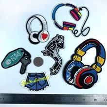 PGY auriculares lindos Parches bordados de música Parches de planchado para ropa Michael Jackson apliques de baile clave Jeans insignias Parches