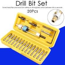 20Pcs Drill Bit Set HSS High Speed Steel Screwdriver Bits Flip Drive With Yellow Blow Molding Box Multifunctional Drill Bit Kit