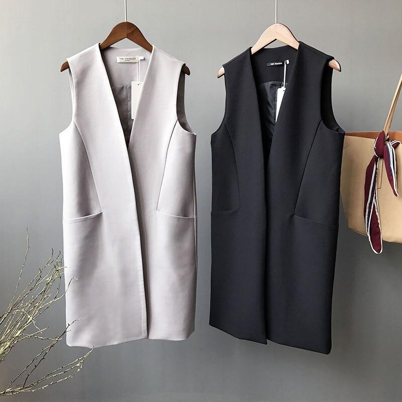Primavera otoño chaleco largo de abrigo señoras ropa de oficina clásico sin mangas traje chalecos gris moderno chaleco Casual elegante mujeres chaleco