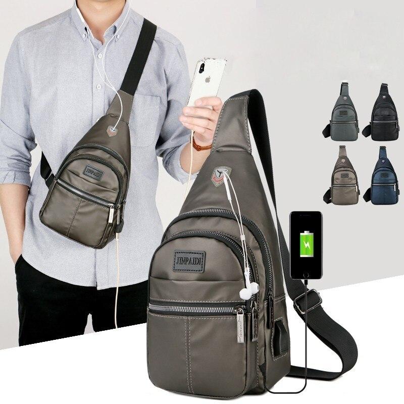 Mochila USB resistente al agua para hombre, Mochila de pecho individual, bolsa de una correa de hombro de Inglaterra, bolsa cruzada, Mochila Masculina