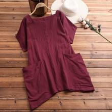 Grande taille hauts ZANZEA 2020 femmes lin Blouse Vintage manches chemises femme grandes poches Baggy Chemise Blusas Femininas
