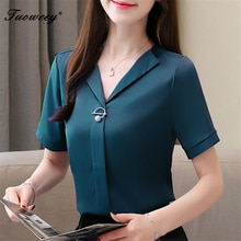 2018 Hot Sale Women Shirts Blouses shrt Sleeve v-NECK Solid Ladies Chiffon Blouse Tops OL Office Style Chemise Femme