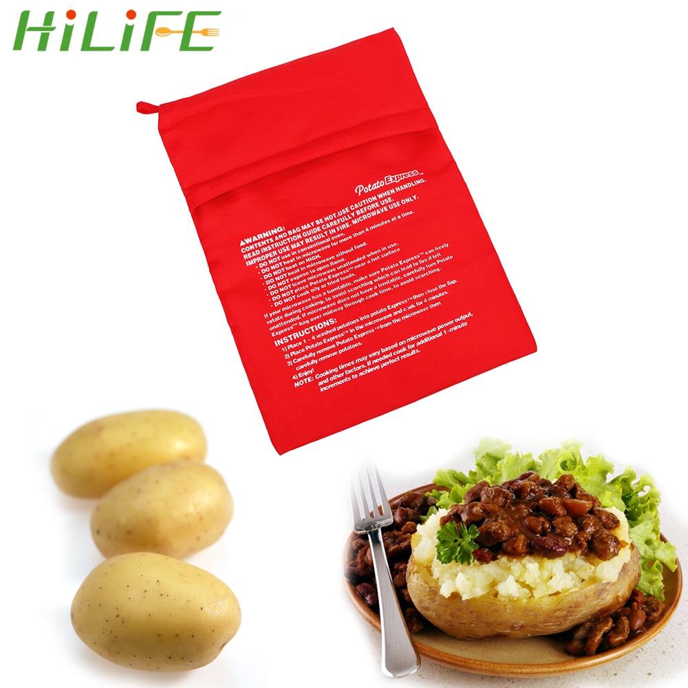Bolsa para cocinar HILIFE lavable, rápida cocción rápida, patatas, arroz, bolsillo, bolsa para hornear patatas en microondas, fácil de cocinar, bolsa para cocinar al vapor