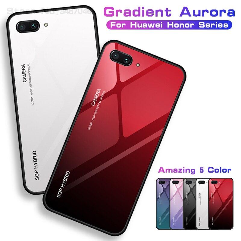 Honor10 Honor9 Gradienten Gehärtetem Glas Fall auf Für Huawei Ehre 9 8 20 Lite Anmerkung 10 30 7a 7c Pro 7x x8 20s Fall Shell Cover