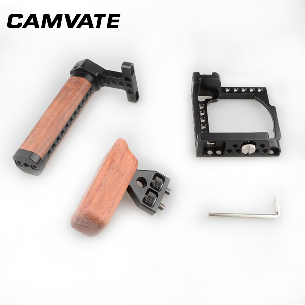 CAMVATE Camera Cage Rig With Wooden Left/Top Handle Grip & 1/4
