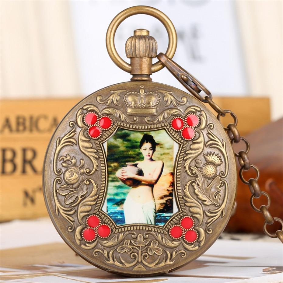 ساعة جيب ميكانيكية توربيون عتيقة ، تصميم صورة فنية ، ساعة جيب نحاسية نقية ريترو ، هدايا للرجال والنساء