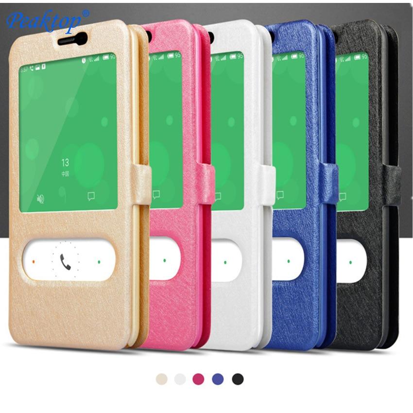Silk Grain Dual Fenster Leder Brieftasche Stehen Flip Fall Für Meizu M6 M5 Hinweis M5S M2 M3 M5 M6 Mini hinweis Telefon Tasche Abdeckung Coque