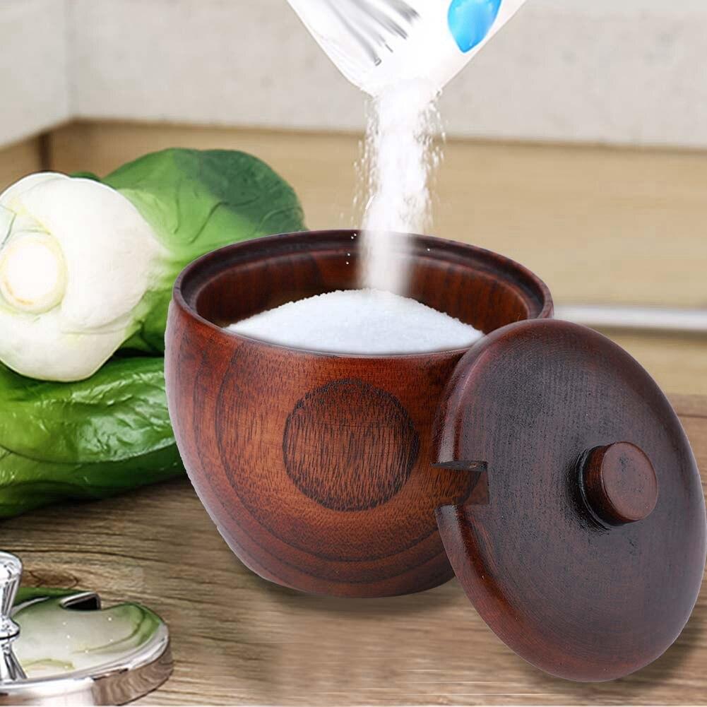 1 Juego de jarras de especias de madera sólida concisa duradera con cuchara y tapa para Estilo japonés de cocina y hogar