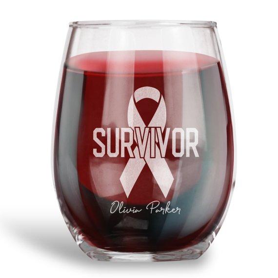 Vaso de vino sin Stemless personalizado, cinta de supervivencia, grabado con nombre
