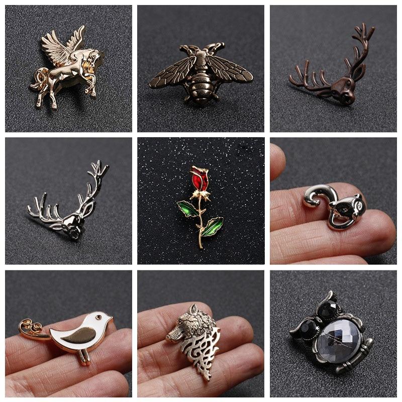 Эмалированная брошка в виде животных, насекомых, Пчела/цветы/птицы/олень, мужской и эмалированный зажим на воротник рубашки, украшение одежды
