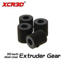 Peças de impressora 3d xcr3d molde aço 38 dente linear extrusora engrenagem furo 5mm mk7 mk8 filamento alimentador driver polia engrenagem preto 1 pçs
