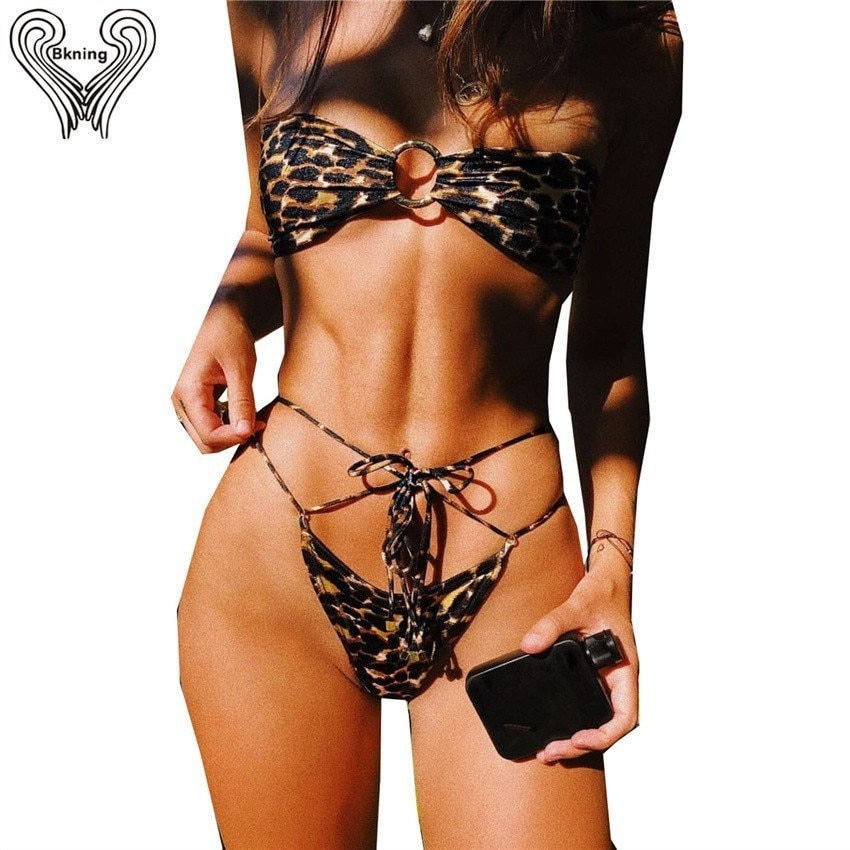 Bkning O Ring Bandeau Leopard Bikini Set Bandage Swimsuits For Women Sexy String Swimwear Back Knot Tie Monokini Two Piece Suit