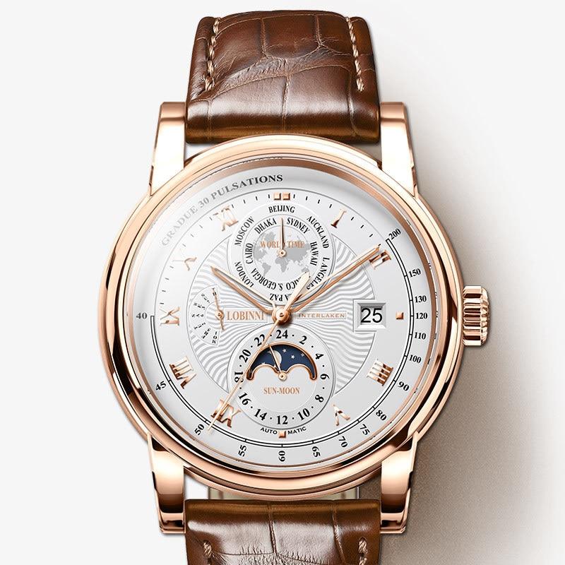 LOBINNI الرجال ساعة فاخرة العلامة التجارية القمر المرحلة التلقائي الميكانيكية الرجال wirsthours الياقوت الجلود العالم الوقت relogio L16003-5