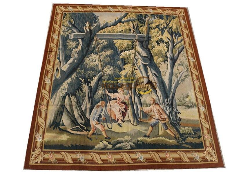 Tapiz bohemio antiguo con estampado de Aubusson francés, tapiz para colgar en la pared, tapiz cuadrado, tapiz de pared, tejido de lana de colores