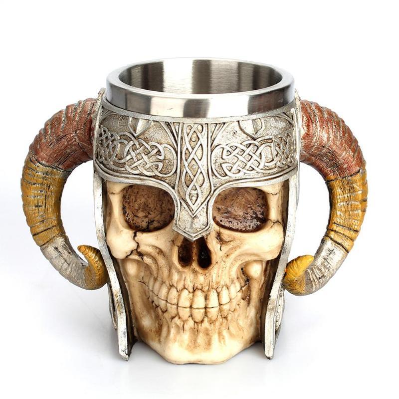 Edelstahl Schädel Becher Viking Trinken Tasse Skeleton Harz Bierkrug Humpen Kaffee Becher Tee Tasse Halloween Bar Drink Geschenk
