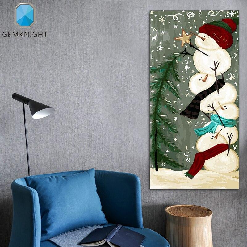 Раскраска по номерам Снеговик Рождественская елка Снеговик модульная живопись цифровая краска по номерам diy масляная Цифровая живопись