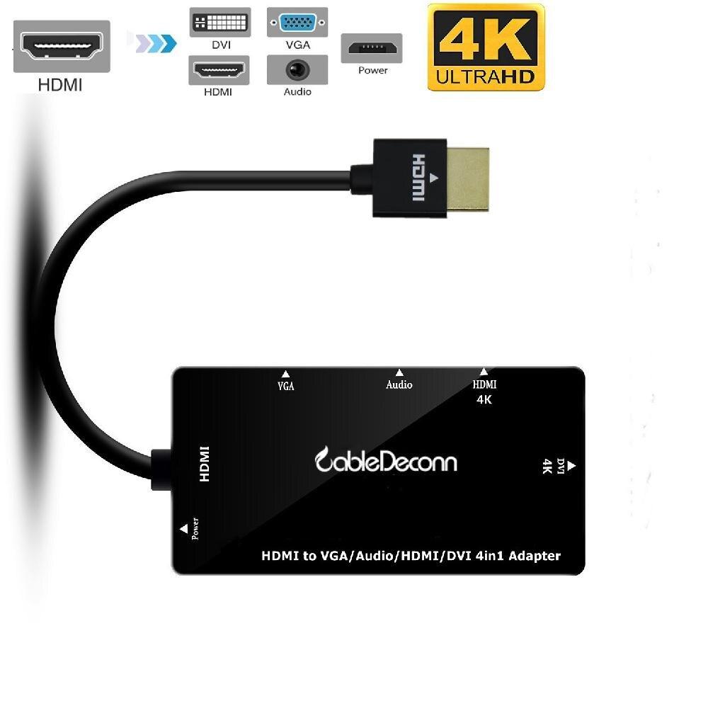 Hobbylane novo 4 in1 hdmi divisor hdmi para vga dvi áudio cabo de vídeo adaptador multiport conversor para ps3 hdtv monitor portátil d25