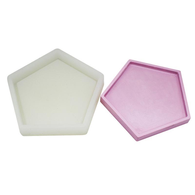 Artículos de decoración Base pentagonal plato de cemento hecho a mano bandeja de concreto molde de silicona