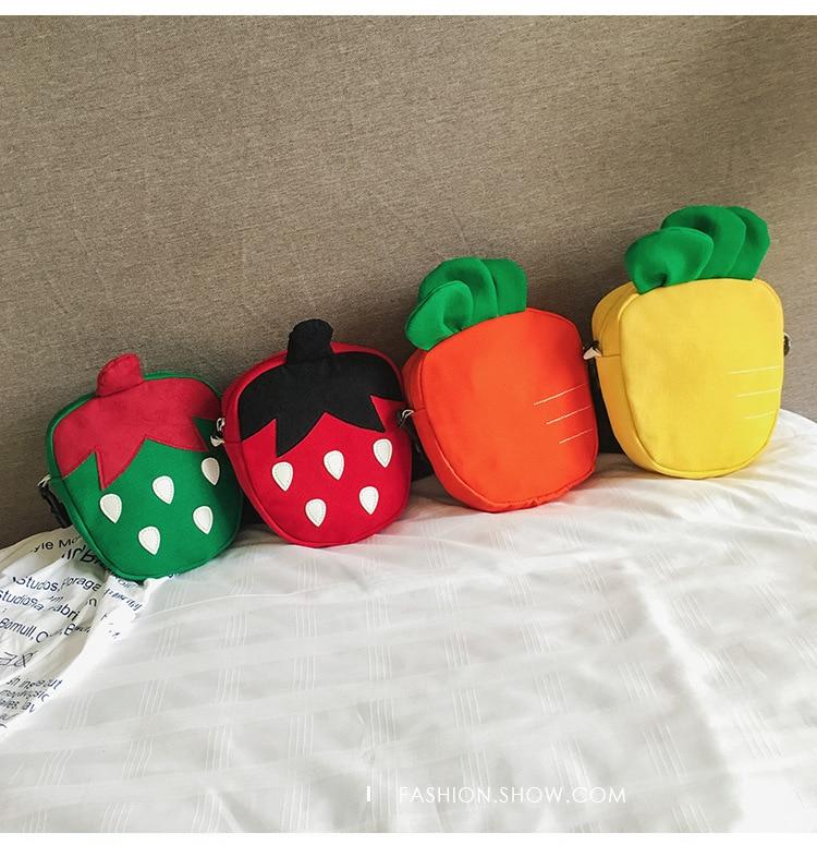 Cute Children's Coin Purse Girls Strawberry Carrot Nylon Messenger Bags Cartoon Mini Zipper Baby Fruit Shoulder Bag Kid Gift