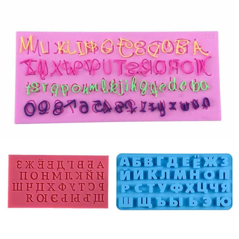 Alfabeto ruso, letra, molde de Chocolate, alimentos de grado alimenticio, 1 pieza, molde para pastel de Fondant, accesorios para hornear, utensilios de cocina de silicona