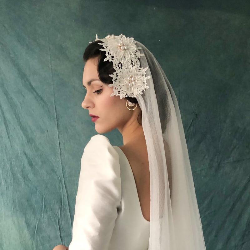 2019 nuevo velo De novia Blanco/Marfil Retro elegante velo De novia velo corto De perlas Mantilla accesorios De boda Veu De Noiva EE007
