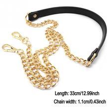 Sac chaîne de remplacement métal + bracelet en cuir PU pour bricolage sac à main sac à bandoulière 120cm