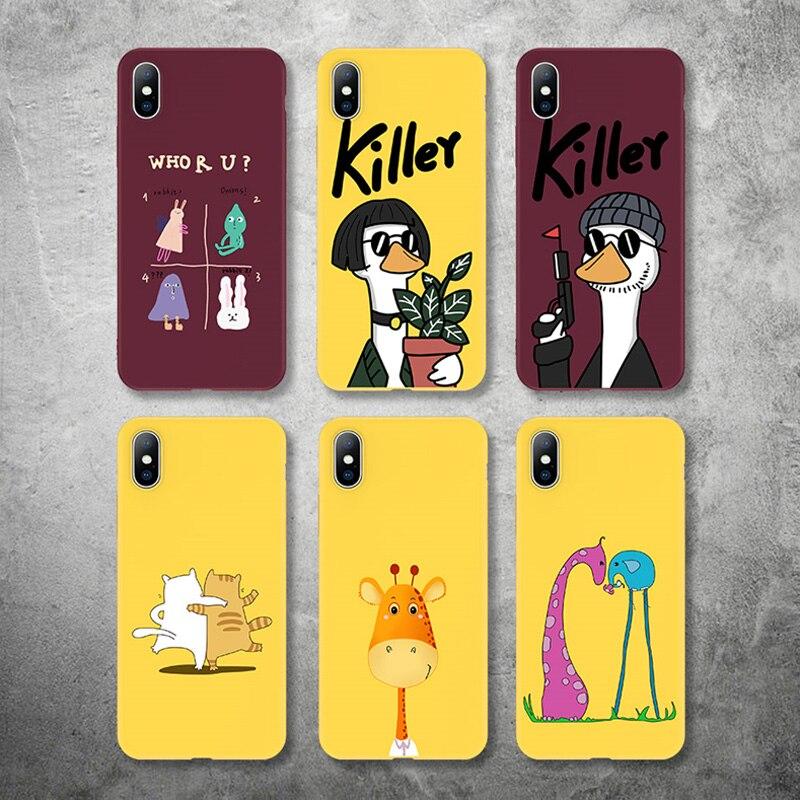 Lovebay чехол для телефона iPhone 11 6 6s 7 8 Plus X XR XS Max 5 5S SE милый мультфильм убийца Жираф Кот мягкий TPU для iPhone 11Pro Max